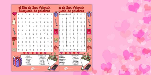 Valentine's Day Word Search Spanish - spanish, valentines day, valentine, wordsearch