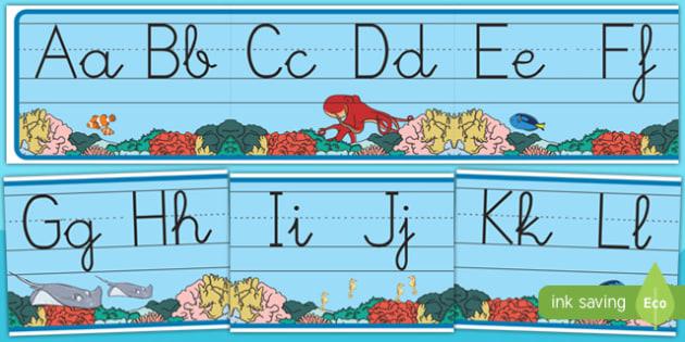 Bajo el mar recta alfabética de exposición-Spanish
