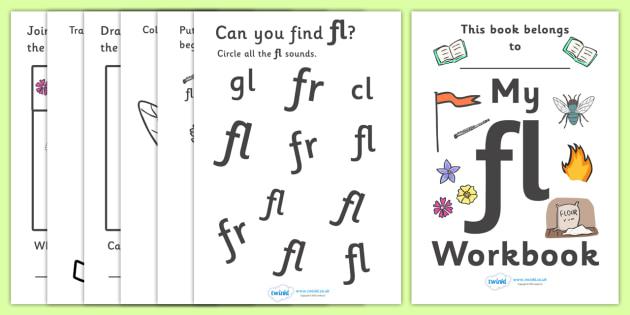 My 'fl' Letter Blend Workbook - workbook, fl, letters, blend, alphabet, activity, handwriting, blends, letter, letter blends