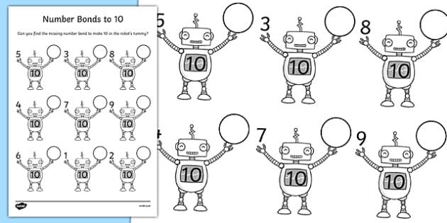 Number Bonds to 10 on Robots Worksheet - number bonds, 10, robots, worksheet
