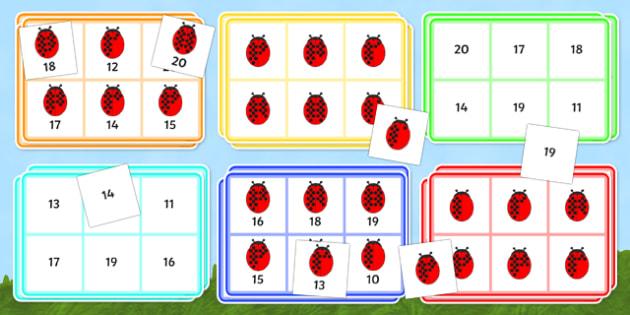 Ladybird Bingo (10-20) - Minibeasts - Ladybird, bingo, number game, 10-20, Number words, Numerals, Foundation Numeracy, Number recognition, Number flashcards, minibeasts