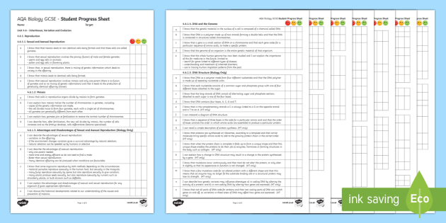 AQA Biology Unit 4.6 Inheritance, Variation and Evolution Student Progress Sheet - KS4, GCSE, AQA, biology, specification, RAG, progress sheets