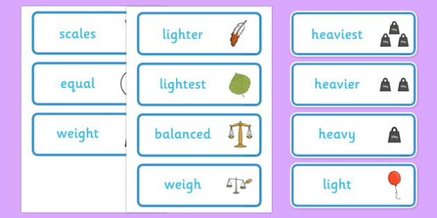 Weight Comparison Word Cards - weight, compare, word, cards