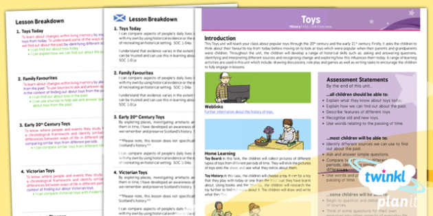 PlanIt History KS1 Toys Planning Overview CfE - KS1, key stage 1,history, topic, planning, resources, unit, scottish, curriculum for excellence, comparison