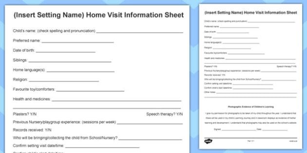 Editable Home Visit Information Form - home visit, information, form