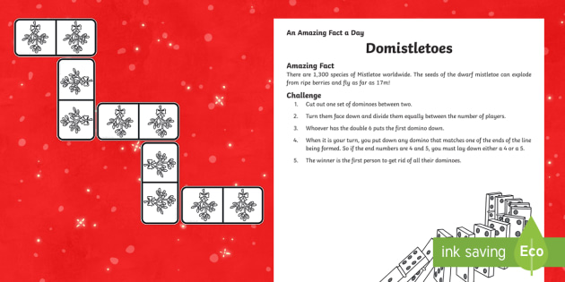 Amazing Fact a Day KS2 Countdown to Christmas Day 12 Domistletoes Activity Sheet - Amazing Fact Of The Day, activity sheets, powerpoint, starter, morning activity, December, Christmas
