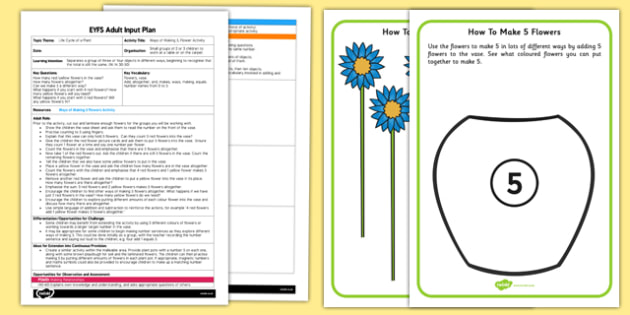 Ways of Making 5 Flower-Themed Activity EYFS Adult Input Plan and Resource Pack