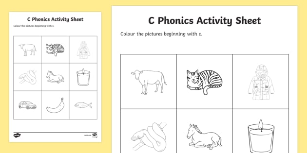 c Phonics Colouring Activity Sheet - Republic of Ireland, Phonics Resources, initial sounds, sounding out, phonics assessment, colouring,