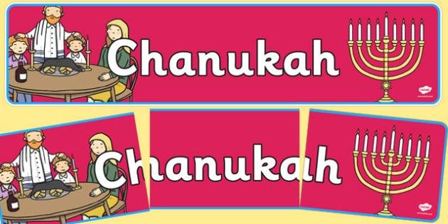 Chanukah Display Banner - Religion, faith, banner, display, sign, synagogue, hannukah, jew, jewish, God, RE, rabbai