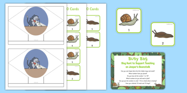 Slug Hunt Busy Bag Prompt Card and Resource Pack to Support Teaching on Jasper's Beanstalk - beans, growth, growing, plants, snail, bugs, minibeasts