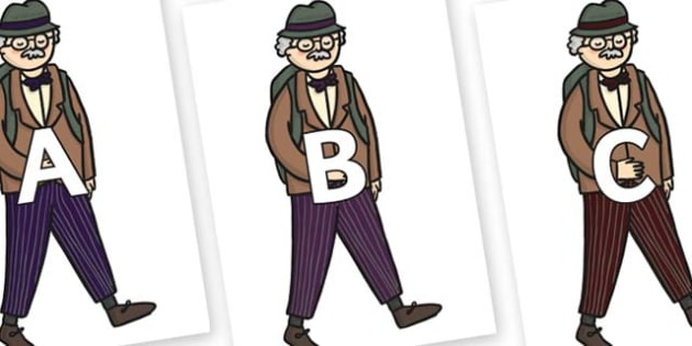 A-Z Alphabet on Beautys Dad Walking - A-Z, A4, display, Alphabet frieze, Display letters, Letter posters, A-Z letters, Alphabet flashcards