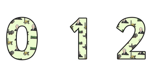 George Stephenson Themed A4 Display Numbers - george stephenson, display numbers, themed number, classroom number, numbers for display, a4 numbers
