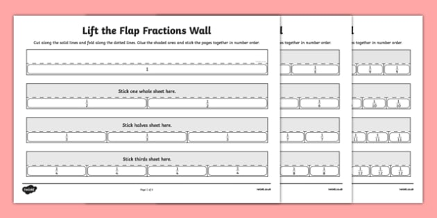 Lift the Flap Fractions Wall - lift the flap, fractions wall, lift, cut and stick, fractions