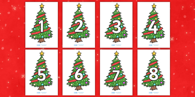 Numbers 0-30 on Christmas Trees (Decorated) - Christmas, tree, advent, nativity, santa, father christmas, Jesus, tree, stocking, present, activity, cracker, angel, snowman, advent , bauble, Foundation Numeracy, Number recognition, Number flashcards,