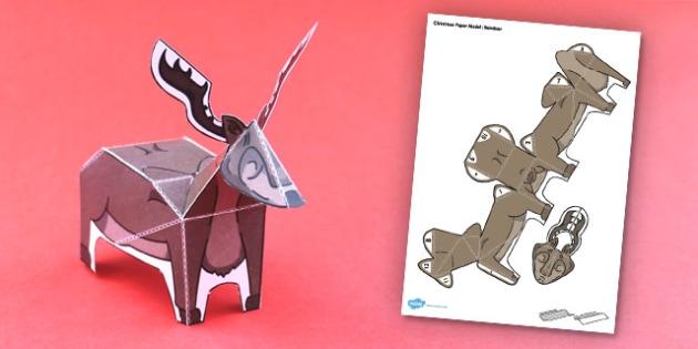 Christmas Paper Model Reindeer - activity, activities, create