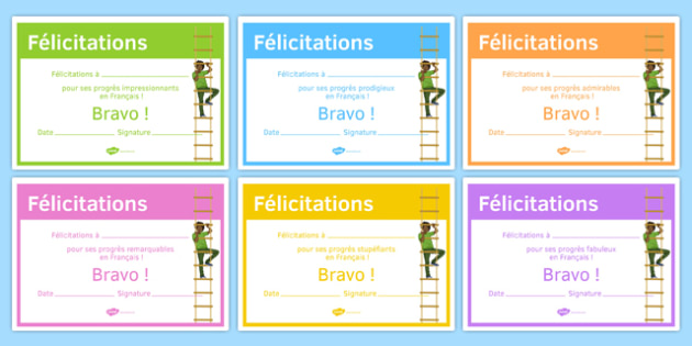 French End of Year Progress Award Certificate