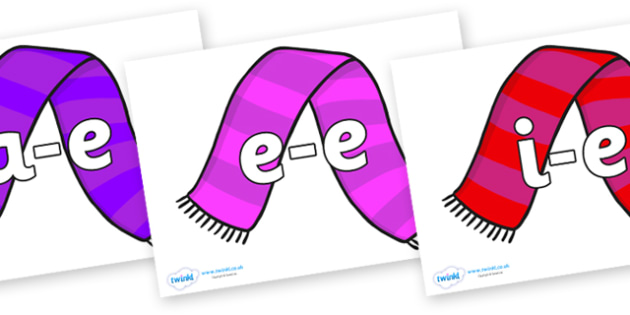 Modifying E Letters on Scarves - Modifying E, letters, modify, Phase 5, Phase five, alternative spellings for phonemes, DfES letters and Sounds