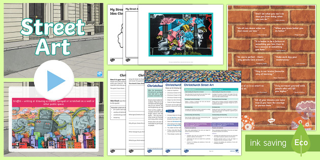 Christchurch Street Art Lesson Pack - New Zealand , earthquake, Christchurch, Strret Art, art, graffiti, graffitti, grafitti