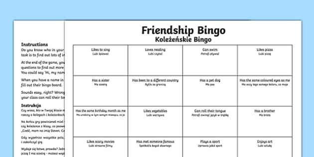 Back to school new class friendship bingo activity Polish Translation-Scottish-translation