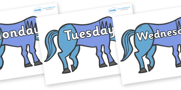 Days of the Week on Blue Horse to Support Teaching on Brown Bear, Brown Bear - Days of the Week, Weeks poster, week, display, poster, frieze, Days, Day, Monday, Tuesday, Wednesday, Thursday, Friday, Saturday, Sunday
