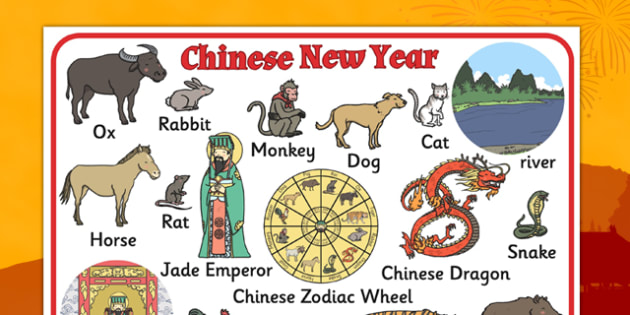 Chinese's New Year Story Word Mat - Mats, Literacy, Words, Visual