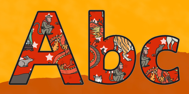 Chinese New Year Story Themed Size Editable Display Lettering