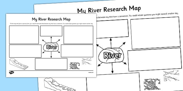 My River Research Map Template - river, research, map, template
