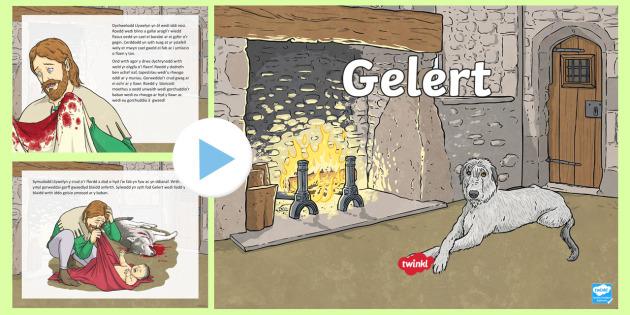 Pŵerbwynt Stori Gelert - Stori Gelert, Gelert, Tywysog, Llywelyn, ci hela, baban, crud, Castell, Gogledd Cymru, Eryri, Beddge