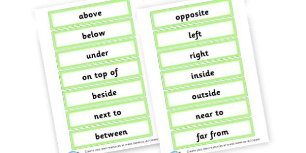 Positional words year 1