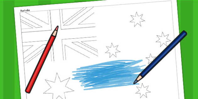 Australia A4 Colouring Flag - geography, flag, country, colour in
