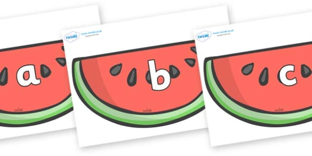 Phase 2 Phonemes on Watermelons to Support Teaching on The Very Hungry Caterpillar - Phonemes, phoneme, Phase 2, Phase two, Foundation, Literacy, Letters and Sounds, DfES, display