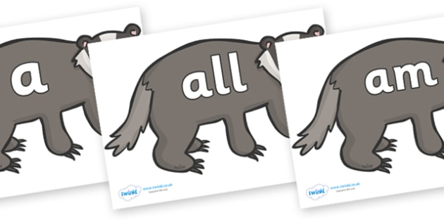Foundation Stage 2 Keywords on Badgers - FS2, CLL, keywords, Communication language and literacy,  Display, Key words, high frequency words, foundation stage literacy, DfES Letters and Sounds, Letters and Sounds, spelling