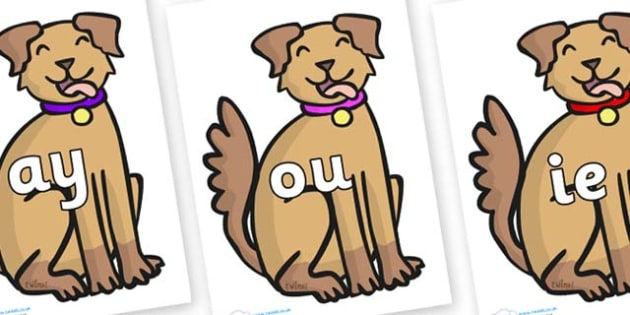 Phase 5 Phonemes on Dog - Phonemes, phoneme, Phase 5, Phase five, Foundation, Literacy, Letters and Sounds, DfES, display