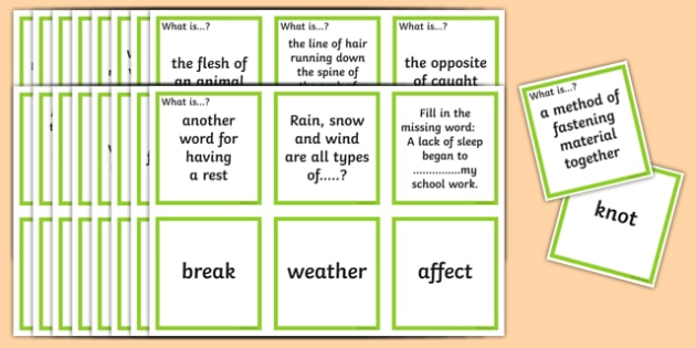 Years 3 and 4 Homophones and Near Homophones Question Matching Cards