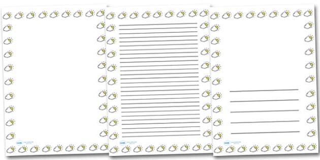 Cloudy Sun Portrait Page Borders- Portrait Page Borders - Page border, border, writing template, writing aid, writing frame, a4 border, template, templates, landscape