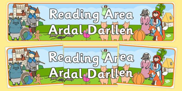 Reading Area Display Banner EYFS Welsh Translation - welsh, cymraeg, Foundation Phase, Reading Area, Display Banner