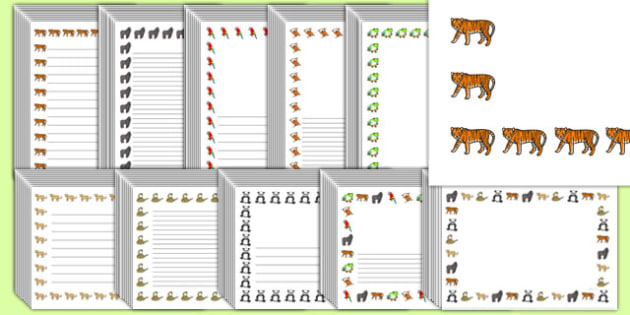 Editable Jungle Page Borders Pack - editable, jungle, page borders