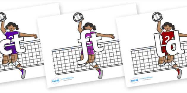 Final Letter Blends on Volleyball Players - Final Letters, final letter, letter blend, letter blends, consonant, consonants, digraph, trigraph, literacy, alphabet, letters, foundation stage literacy