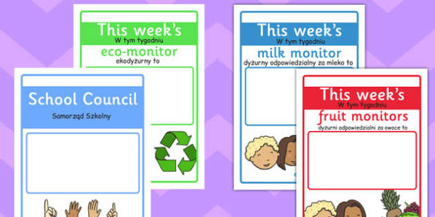 Classroom Monitor Display Signs Weekly Polish Translation - responsiblities, roles, ks1, ks2, key stage 1, key stage 2,