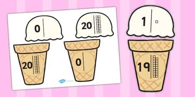 Ice Cream Number Bonds to Twenty Place Value - number bonds, twenty