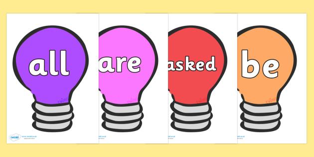 Tricky Words on Lightbulbs (Multicolour) - Tricky words, DfES Letters and Sounds, Letters and sounds, display, words