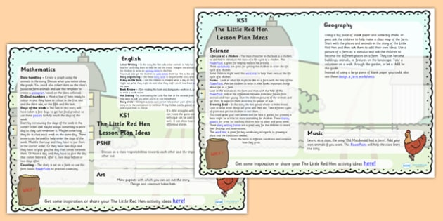 The Little Red Hen Lesson Plan Ideas KS1 - lesson plan, KS1