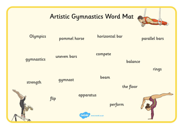 The Olympics Artistic Gymnastics Word Mat - olympics, artistic gymnastics, artistic, gymnastics, word mat