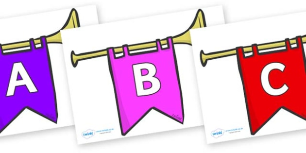 A-Z Alphabet on Banners - A-Z, A4, display, Alphabet frieze, Display letters, Letter posters, A-Z letters, Alphabet flashcards