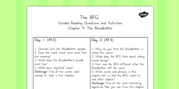 Guided Reading Questions Chapter 9 to Support Teaching on The BFG - australia, bfg, guided reading
