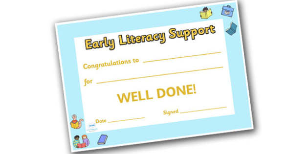 Early Literacy Support Award Certificates - ELS, Early Literacy Support,  literacy award, scroll, reward, award, certificate, medal, rewards, school reward
