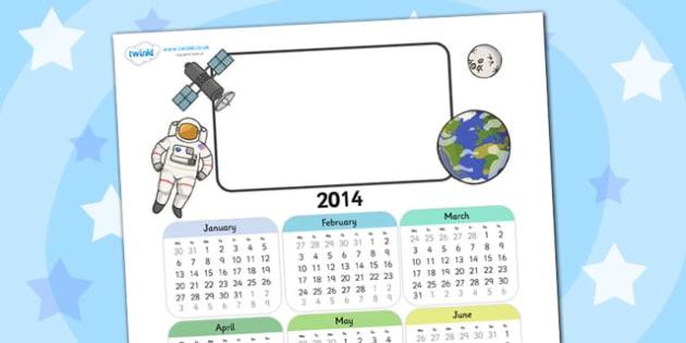 2014 Space Themed Editable Calendar - space, editable calendar, calendar, editable, themed calendar, date, photo calendar, themed editable calendar
