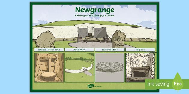 Newgrange Large Display Poster - ROI Places of Interest, tourism, history, geography, ireland, newgrange,Irish