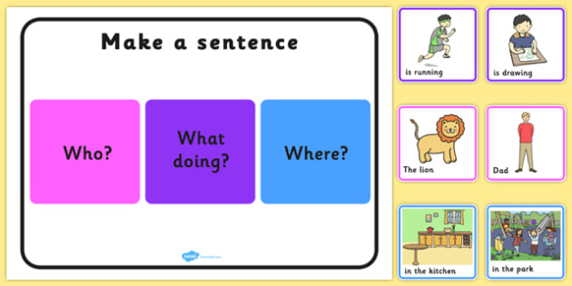 Make a Sentence Who What Doing Where - sentence, who, what, where