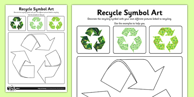 Recycle Symbol Design Activity Sheet - Go Green, Eco, recycle, warrior, environment, worksheet
